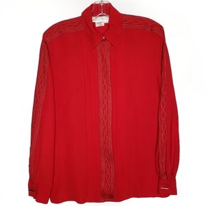 STARINGTON  Red Embroidered Button Blouse